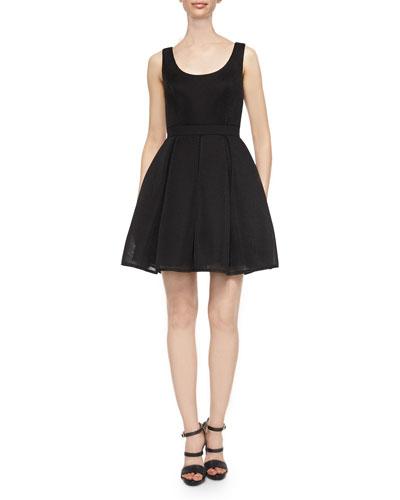 Sleeveless Fit & Flare Mesh Dress