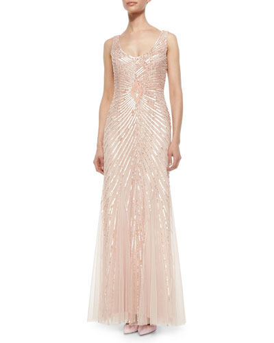 Sleeveless V-Neck Sequined Gown