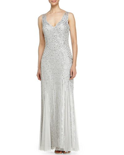 Sleeveless V-Neck Beaded Gown W/ Godet Skirt, Silver