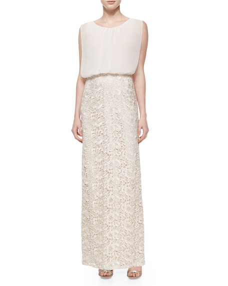 Aidan Mattox Chiffon-Top Lace-Skirt Gown, Champagne