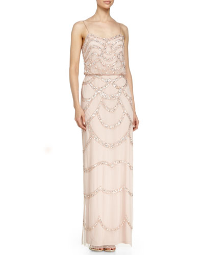 Sleeveless Beaded Blouson Column Gown, Petal