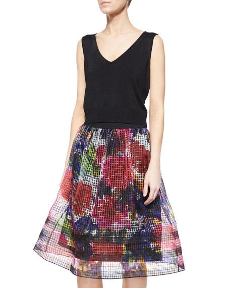 Midi Floral-Print Organza Skirt