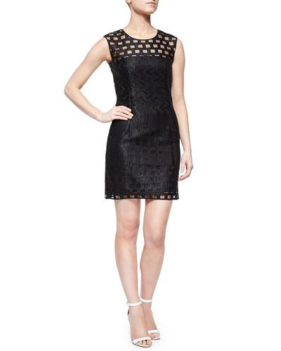 Sleeveless Illusion Filament Sheath Dress, Black