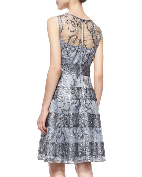 Sleeveless Sequined Circle Lace Dress