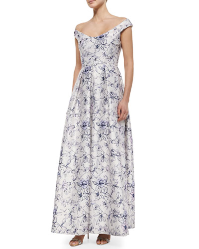 Off-the-Shoulder Floral-Print Ball Gown