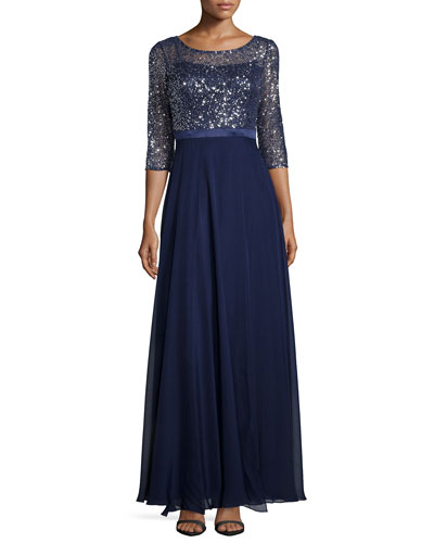 3/4-Sleeve Sequined Lace Combo Gown