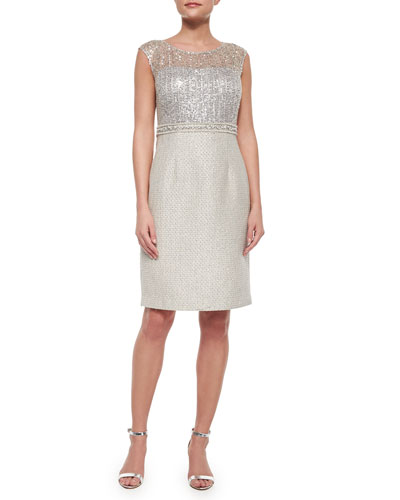 Cap-Sleeve Combo Lace Tweed Sheath Dress