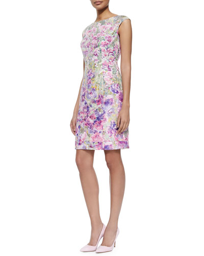 Cap-Sleeve Floral Jacquard Sheath Dress