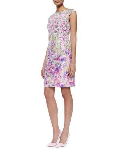 Cap-Sleeve Floral Jacquard Sheath Dress