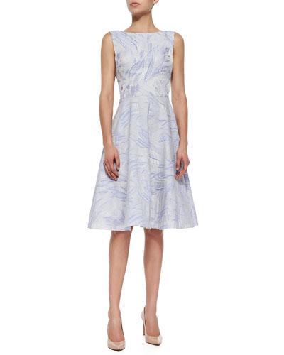 Sleeveless Fit & Flare Jacquard Dress, Iris