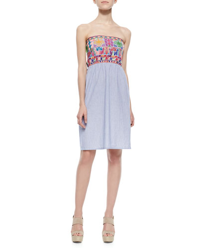 Christophe Sauvat Chica Pinstripe/Embroidered Strapless Dress