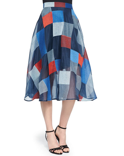 Colorblock Quilted Midi Skirt