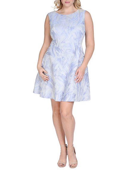 Kay Unger New York Sleeveless Fit & Flare Jacquard Dress