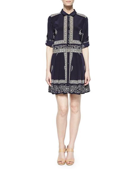 Long-Sleeve Bandana-Print Shirt Dress, Ink/Chino