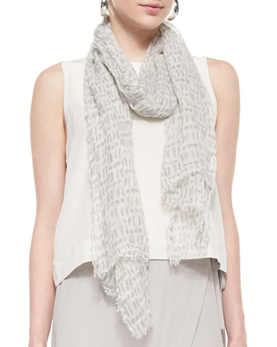 Cipher Printed Sheer Scarf, Dark Pearl
