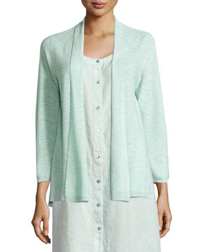3/4-Sleeve Organic Linen Cotton Cardigan, Aurora, Petite