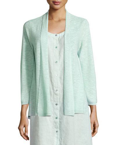 3/4-Sleeve Organic Linen Cotton Cardigan, Aurora, Women's