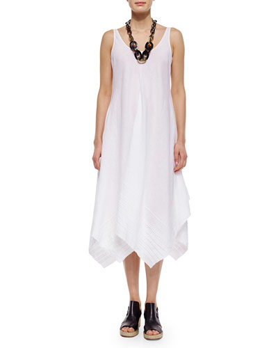Organic Linen Scoop-Neck Tank Dress, Petite