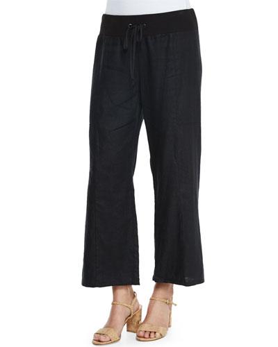 Wide-Leg Organic Linen Cropped Pants