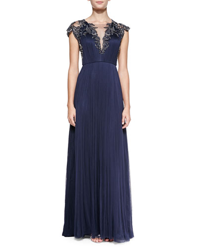 Cap-Sleeve Beaded Front & Back Bodice Gown