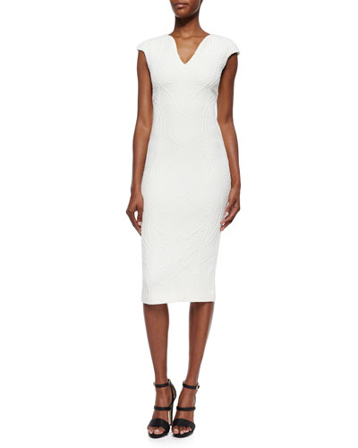 Sancha Floral-Jacquard Sheath Dress, White