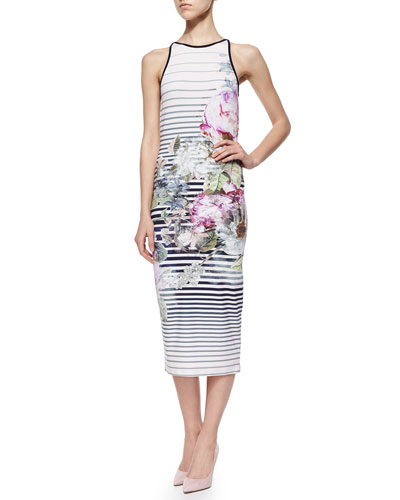 Sleeveless Peony Tea-Length Sheath Dress, Shell