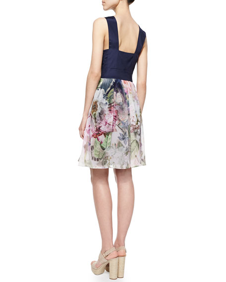 Peony Chiffon Shift Dress, Navy