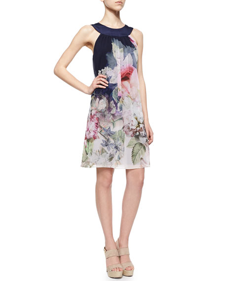 Ted Baker London Peony Chiffon Shift Dress, Navy