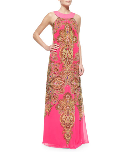 Maldine Paisley-Print Maxi Dress, Bright Pink