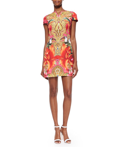 Paisley Toucan Printed Shift Dress