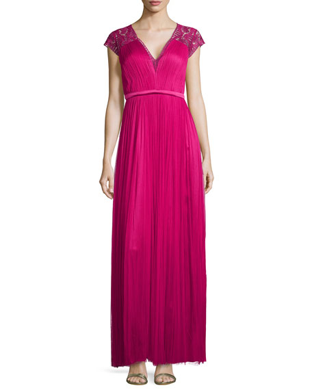 Vitalia Pleated Embossed Tulle Gown, Fuchsia