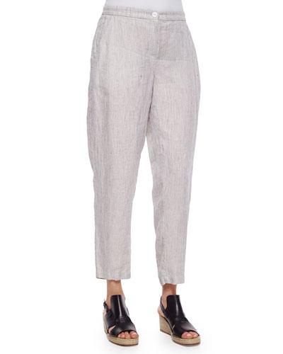 Slouchy Organic Linen Ankle Pants, Petite