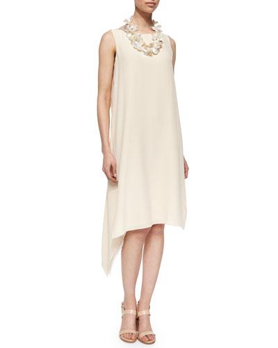 Sleeveless Silk Asymmetric Dress, Alabaster, Petite
