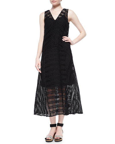 Sleeveless A-line Eyelet Dress, Black