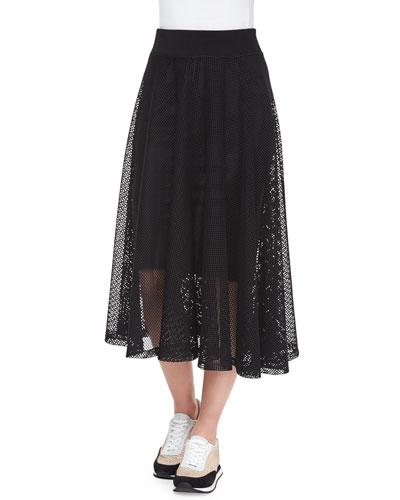 Crochet Mesh Full Midi Skirt