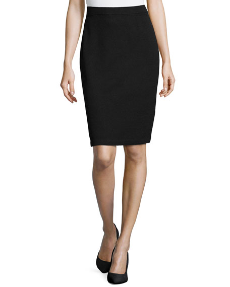 St. John Collection Santana Pencil Skirt, Black