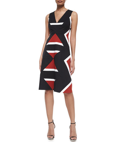 Sleeveless V-Neck Colorblock Dress