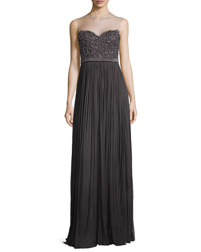 Vivienne Sleeveless Beaded-Bodice Gown, Charcoal