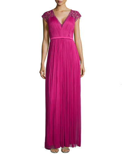 Vice Embroidered-Shoulder Gown, Fuchsia