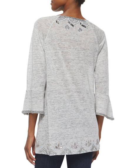 Novaline Embroidered Slub-Jersey Tunic, Heather Gray