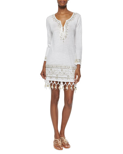 Berega Sequin-Embroidered Tunic, White