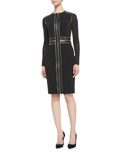 Zip-Front Cocktail Sheath Dress with Leather Trim