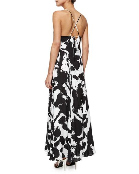 Alejandra Silk Maxi Dress, Black/White