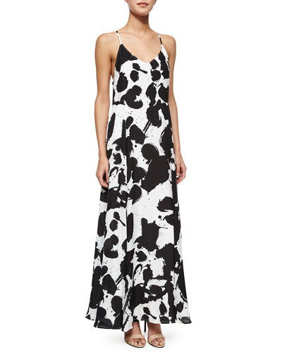 Alejandra Silk Maxi Dress, Black/White