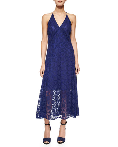 Falcon Racerback Lace Maxi Dress, Brazil Blue