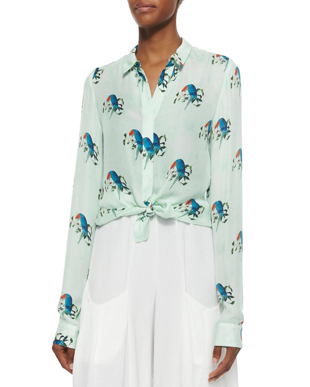 63343ee1079e86 Alice + Olivia Willa Mini-Collar Button-Down Shirt   Neiman Marcus