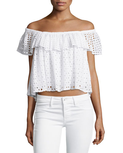 Celestine Off-the-Shoulder Eyelet Top, White
