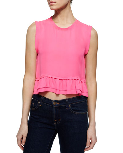 Tanya Silk Ruffled Cropped Top