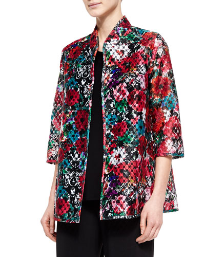 3/4-Sleeve Embroidered Organza Jacket, Petite