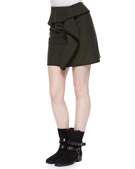 Kenzo Stitch-Trim Paneled Cotton Skirt